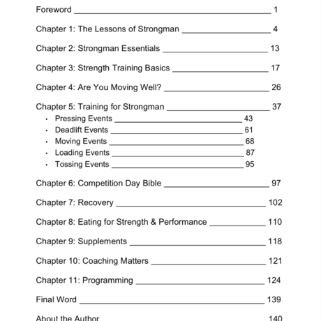 Table of contents UBStrongman