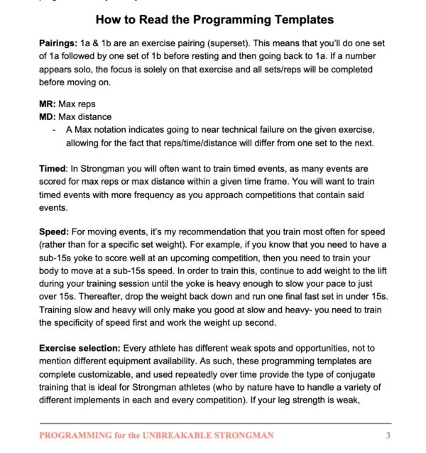 Unbreakable Strongman Programming How To